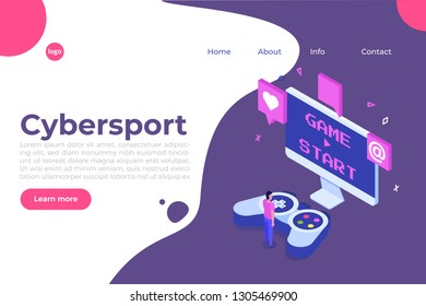 E-sport or cybersport  computer gaming  isometric concept. Vector illustration