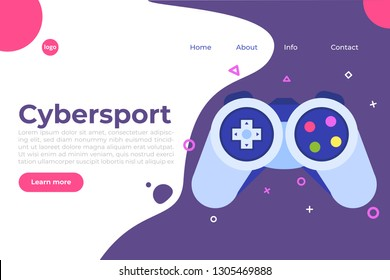 E-sport or cybersport  computer gaming  landing page templete. Vector illustration