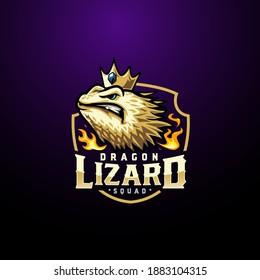 eSport dragon lizard mascot logo