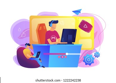 E-sport gamer live streaming online videogame play and viewer with laptop. E-sports streaming, live game show, online streaming business concept. Bright vibrant violet vector isolated illustration