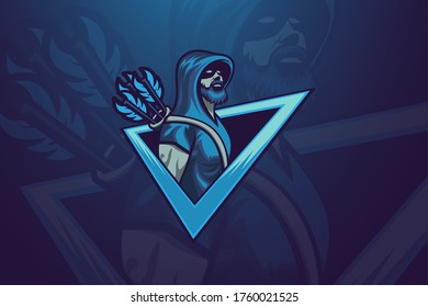 Esport Logo vector graphic with archer concept. Illustration for Sport, Badge, Printing Design and Esport Team.