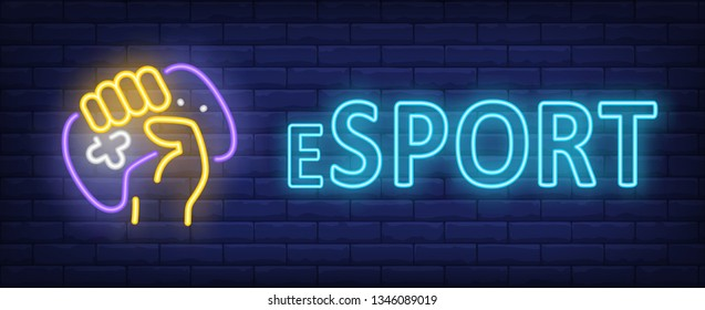Esport neon text with hand holding gamepad. Video game and cybersport design. Night bright neon sign, colorful billboard, light banner. Vector illustration in neon style.