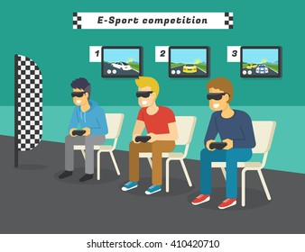 E-sport race competition with virtual reality glasses. Guys playing virtual car race championship and displays behind them showing game to public. Concept illustration of future gaming technologies