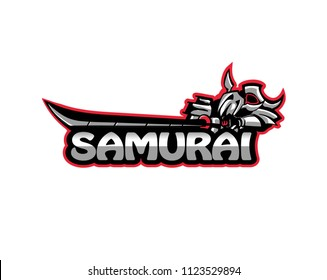 eSport samurai logo, Cybersport samurai warrior logo  vector illustration isolated on white background