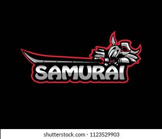 eSport samurai logo, Cybersport samurai warrior logo  vector illustration