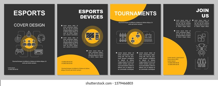 Esports brochure template layout. E sports tournaments, devices. Flyer, booklet, leaflet print design with linear illustrations. Vector page layouts for magazines, annual reports, advertising posters