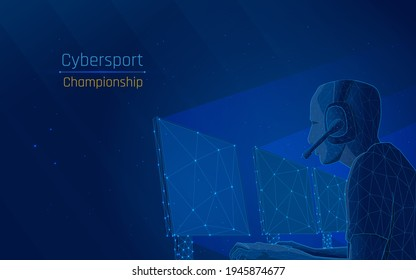 Esports or cybersport, online battle, battle for the prize and the prize in online games. distance competition is very important during a pandemic .vector illustrator,eps10,wireframe,dark blue bg