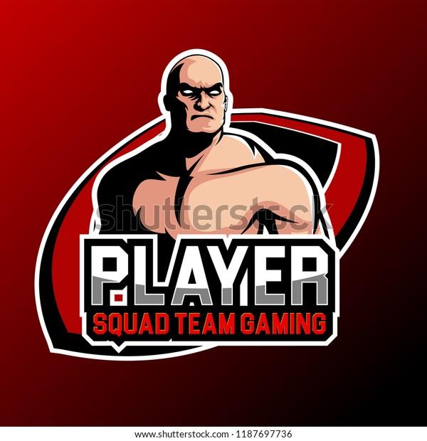 Esports Gaming Logo Bald Style Stock Vector (Royalty Free