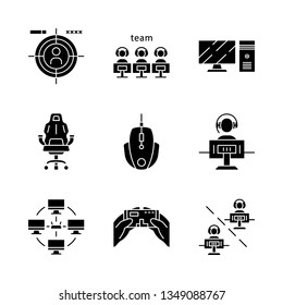 Esports glyph icons set. Videogame tournament. Game for player and team. Shooting. Computer devices. Local area network. Silhouette symbols. Vector isolated illustration