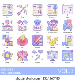 Esports icons including buff, carry, nerf, overpowered, meta, noob, GG, rekt, game developer, publisher, PVE, AoE, cooldown, farming, DRM, badge, co-op, crafting, DLC, inventory.