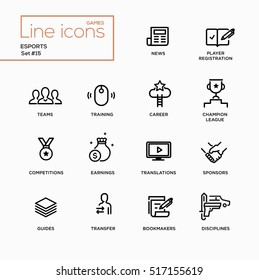 Esports - modern vector plain simple thin line design icons and pictograms set. News, player registration, parties, guides, training, transfer, earnings, competitions, champion bookmakers sponsors