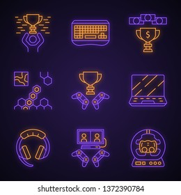 Esports neon light icons set. Gaming gadgets and accessories. Winner cup. Strategy game. Gamer hardware. Glowing signs. Vector isolated illustrations