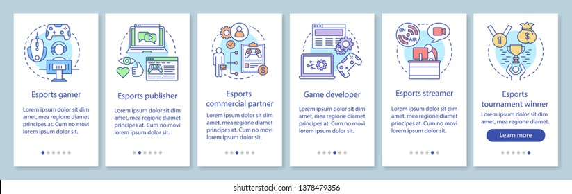 Esports onboarding mobile app page screen with linear concepts. Video games competition. Gaming tournament walkthrough steps graphic instructions. UX, UI, GUI vector template with illustrations