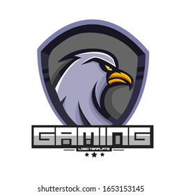E-sports team logo template with angry eagle vector illustration