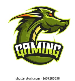 E-sports team logo template with Dragon vector illustration