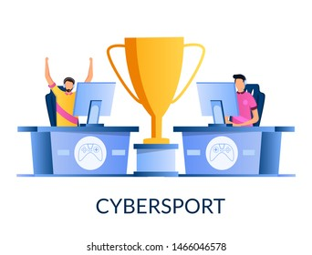 E-sports tournament, vector illustration. Two professional gamers playing online video game in front of computer monitor screens and huge award cup between them. Cybersport concept for web banner etc.