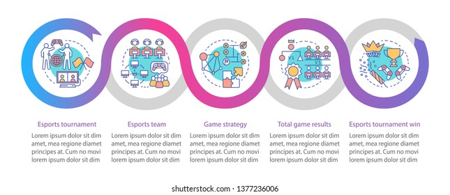Esports tournament vector infographic template. Business presentation design elements. Data visualization with five steps and options. Process timeline chart. Workflow layout with linear icons