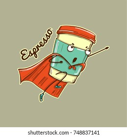 Espresso coffee cup superhero character, vector illustration