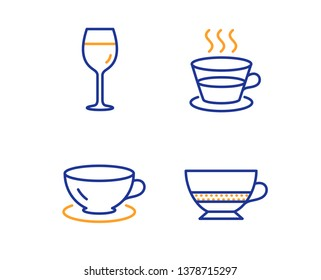 Espresso, Coffee cup and Wine glass icons simple set. Bombon coffee sign. Tea mug, Bordeaux glass, Cafe bombon. Food and drink set. Linear espresso icon. Colorful design set. Vector