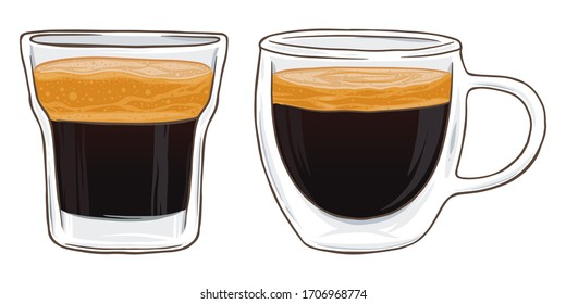 Espresso coffee shot in glass, vector illustration isolated on white background