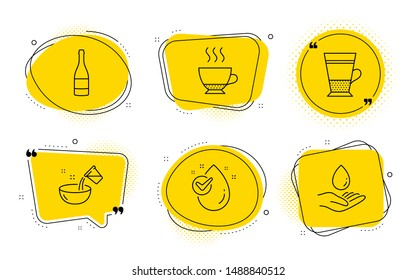 Espresso, Double latte signs. Chat bubbles. Cooking water, Champagne bottle and Water drop line icons set. Glass, Anniversary alcohol, Clean aqua. Hot drink. Food and drink set. Vector