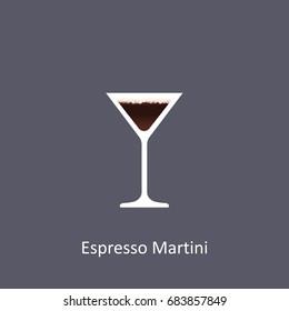 Espresso Martini cocktail icon on dark background in flat style. Vector illustration