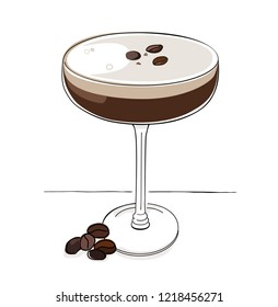 Espresso martini vector illustration