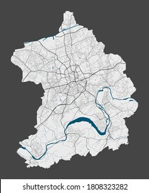 Essen map. Detailed map of Essen city administrative area. Cityscape panorama. Royalty free vector illustration. Linear outline map with highways, streets, rivers. Tourist decorative street map.