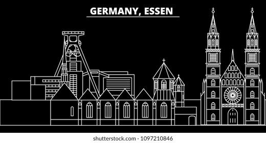 Essen silhouette skyline. Germany - Essen vector city, german linear architecture, buildings. Essen travel illustration, outline landmarks. Germany flat icons, german line banner