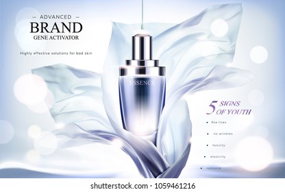 Essence product ads, droplet bottle with flying chiffon element in 3d illustration, glittering bokeh background