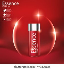 Essence skin Care Cosmetic. Red background.
