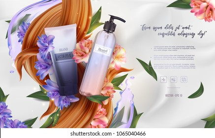 Essential cream ads: shampoo bottle, pink  and blue flowers with leaves, hair cosmetic product healthcare banner.