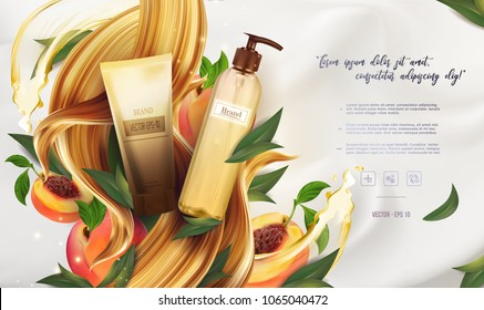 Essential cream ads: shampoo bottle, pink peach with leaves, hair cosmetic product healthcare banner.