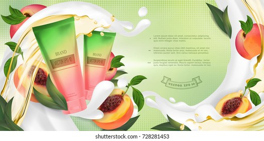 Essential cream ads: shampoo bottle, pink peach with leaves, cosmetic product healthcare banner.
