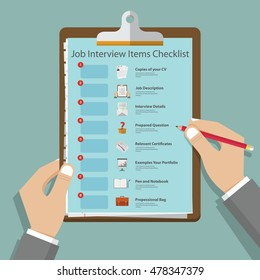 Essential job interview icons in flat design on clipboard. Job interview preparation infographic. Vector Illustration.