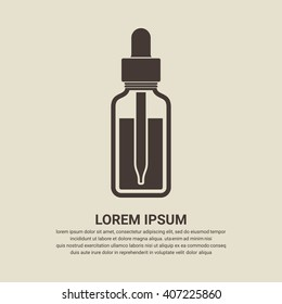 Essential oil bottle icon on brown background, flat design style. Vector illustration eps 10.