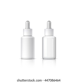 essential oil. set of cosmetic products on a white background. Object, shadow, and reflection on separate layers. vector illustration.