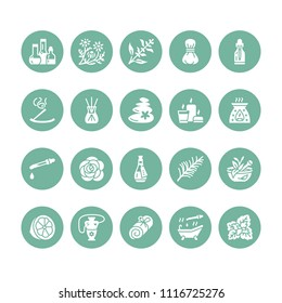 Essential oils aromatherapy vector flat glyph icons set. Elements - aroma therapy diffuser, oil burner, candles, incense sticks. Pictograms for spa salon. Solid silhouette pixel perfect 64x64.