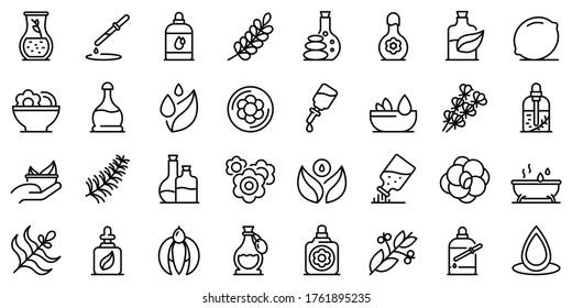 Icons für ätherische Öle gesetzt. Rahmenset ätherischer Öle, Vektorsymbole für Webdesign einzeln auf weißem Hintergrund
