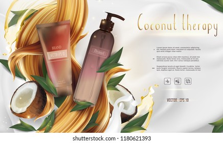 Essential organic therapy ads: shampoo/cream bottle, with coconuts and palm leaves; hair/body cosmetic product healthcare banner.