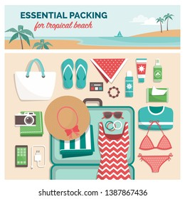 Essential packing for tropical beach: packing list for a summer travel vacation in exotic destinations with suitcase and flat lay objects
