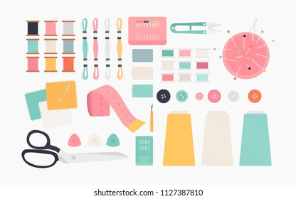 Essential sewing tools icon illustration