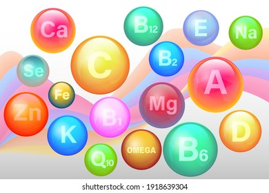 Essential vitamin and mineral complex. Vitamin A, B1, B2, B6, B12, C, D3, E, K1, Calcium, Magnesium, Zinc, Silicon Selenium. 3d mineral supplement set for health. Vector EPS10 collection icons