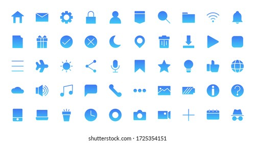 Essential web or app 50 gradient icons set design. Contains home, timen, folder, setting, download, message, phone, sound and more. Vector illustration Eps 10