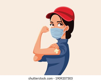Essential Worker Showing Vaccinated Arm. Female employee getting immunization because of job risks