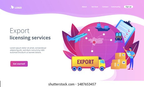Established international trade routes. Selling goods overseas. Export control, export controlled materials, export licensing services concept. Website homepage landing web page template.