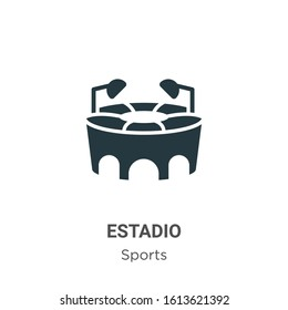 Estadio glyph icon vector on white background. Flat vector estadio icon symbol sign from modern sports collection for mobile concept and web apps design.
