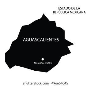 Estado De Aguascalientes, Mexico, vector map isolated on white background.