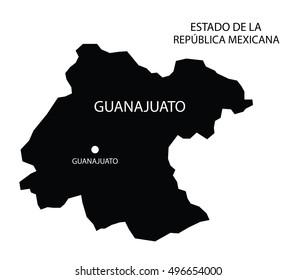 Estado De Guanajuato, Mexico, vector map isolated on white background.