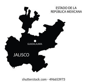 Estado De Jalisco, Mexico, vector map isolated on white background.